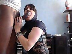 Arabian girl stroking a BBC