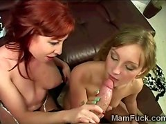 Stunning redhead MILF kneels with beautiful pigtailed