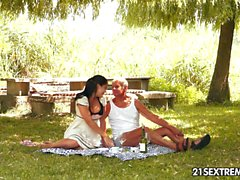 Teen cuties kinky picnic with a grandpa