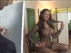 Smoking bitch in fishnet fucking