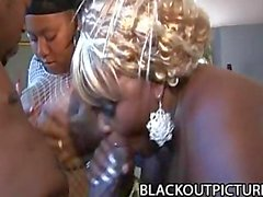 Michelle Bangs and Thunder Katt - Fat Black Babes Sucking A Fat Black Cock