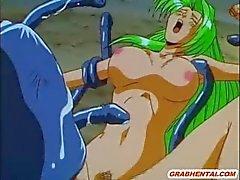 Hentai monster tentakel tuppar gangbanged i utomhus