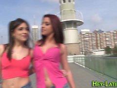 Hot latina gives footjob