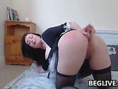 Busty Brunette Babe Masturbates