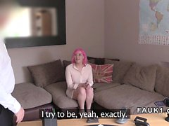 Pink haired Brit anal banging in casting