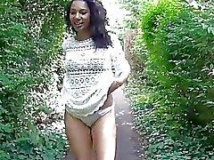 Flashing ebony milf Mels black public nudity