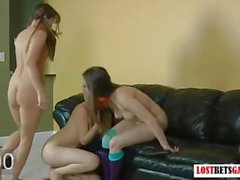 3 Beautiful babes strip the blonde