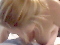 Busty Blonde Sucking Cock in Hotel