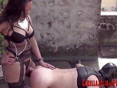 Kinky tgirls fuck slave