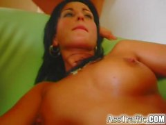 Ass Traffic Brunette is anally screwed by two guys and