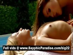 Lovely blonde and brunette lesbos licking and toying pussy and having lesbo sex