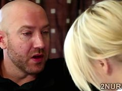 Perv pays a hot blonde babe for a special nuru massage