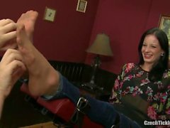 mila sexy feet in nylon tickled