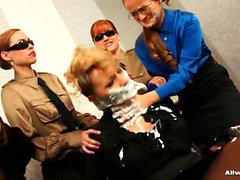 Clothed secretaries pleasing their horny smoking hot boss