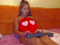 Pretty Girls Red Pillow Between Her LEgs