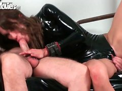 Two German mistresses fucking and using slave