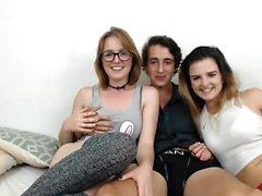 Amateur Italian Threesome In Stockings