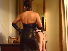 Nice Leather Mistress Spanking hard!