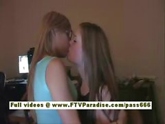 Leslie and Danielle lovely lesbians kissing and having fun