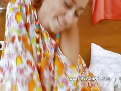 Thin european chick Natasna dildoing