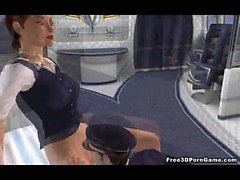3D brunette stewardess sucks cock and gets fucked