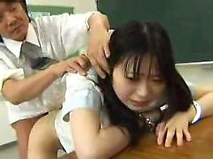 Asian amateur in maid uniform