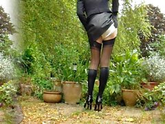 Leather Miniskirt Black Stockings 1
