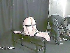 Fisting punishment and deep bondage slave domination of restrained blonde bizarre painslut Weekay