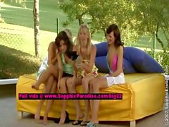 Avidat and Britta and Geena and Briget teen lesbians teasing