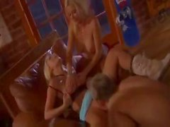 Two busty blonde babes go for the cock of this lucky guy in this threesome