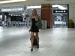 Lena blonde amateur teen flashing her pussy in a public place