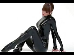 latex girl dancing