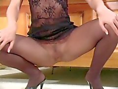 Crystal Klein jerk off encouragement in pantyhose