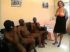 A French mature named Lou gangbanged by black cocks
