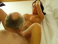 Brunette girlfriend giving a great handjob and blowjob