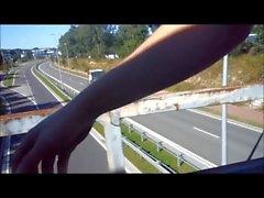flashing traffic from a bridge