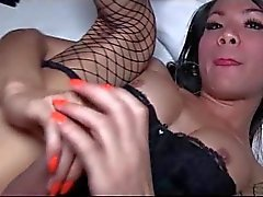 Shemale plays with her long dick
