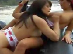 Naughty Lesbians Outdoors On The Boat
