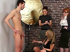 Clothed Office Girls Strip A Guy