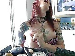 Tattooed tranny Brittany St Jordan jerks