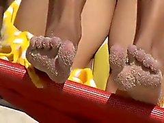 Voyeurs les pieds très sexy à la plage