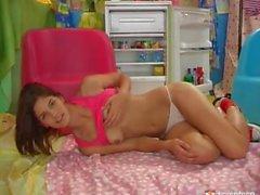 Babe Demi Allen in red sheakes Slides Yellow Vibrator Inside Her Snatc