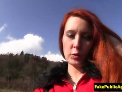 Redhead euro public fucked by fake agent