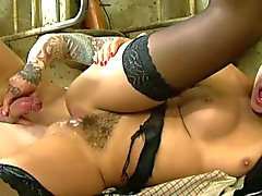 British slut Ava gets fucked in a factory in stockings