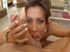 Brunette Rachel Starr gives a POV blowjob and cock riding