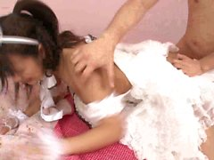 Japanese maid gets facial