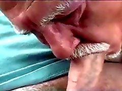 Alte Mann Saugen Hahn auf Auto