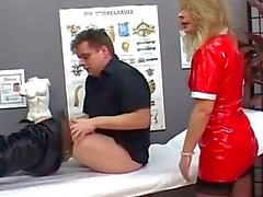 Blonde milf nurse gets horny upon seeing patients hard throbbing cock