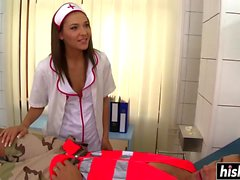 Skinny nurse has fun with a patient