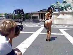 Horny babe Angelina fucks in open public!
